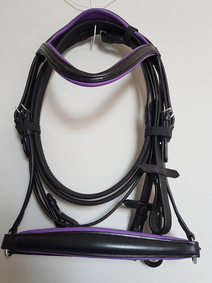 Drop Noseband Bridle - Black Leather with Purple  Full, Cob, Pony