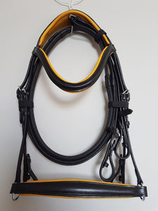 Drop Noseband Bridle - Black Leather with Yellow  Full, Cob, Pony
