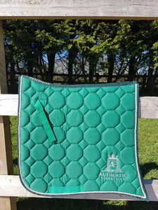 Spanish Saddle Pad - Green with silver edging