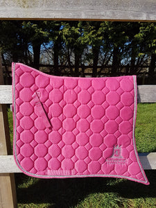 Spanish Saddle Pad - Pink with silver edging