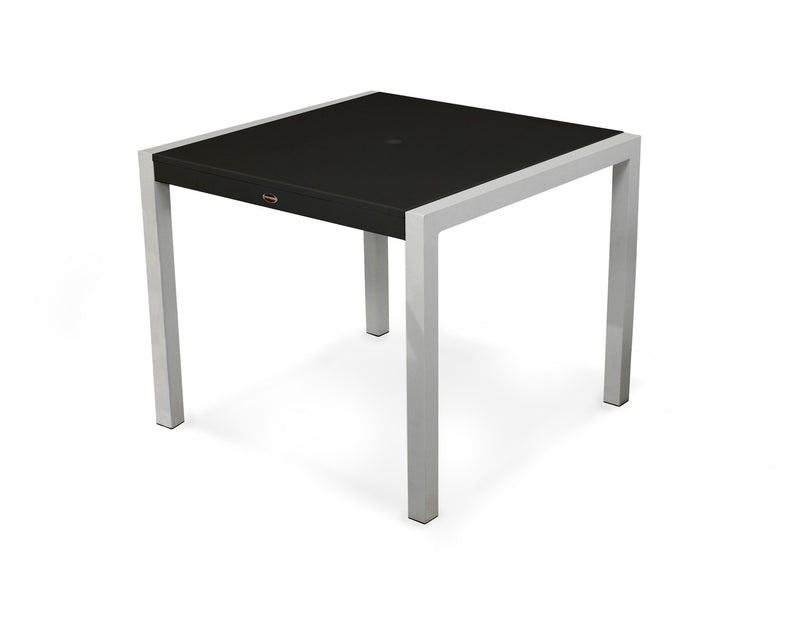 "8120-11MBL MOD SOLID 36"" Dining Table in Textured Silver and Black"