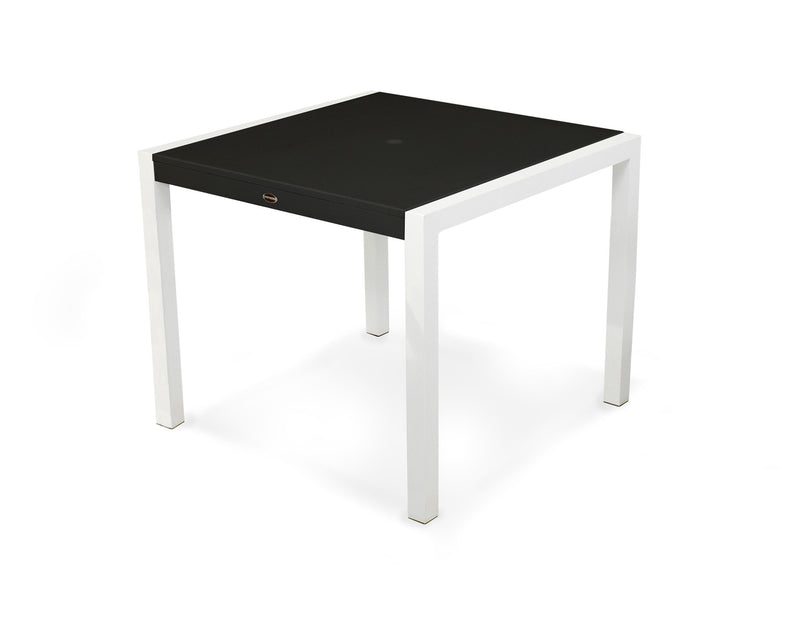"8120-13MBL MOD SOLID 36"" Dining Table in Satin White and Black"