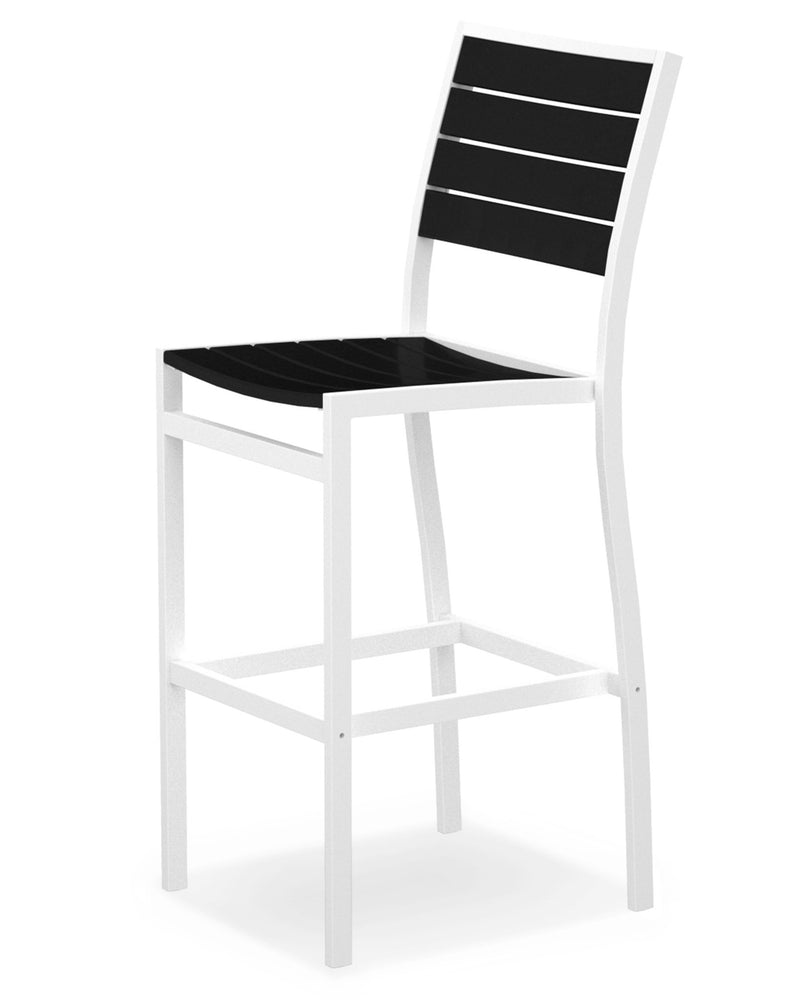 A102-13BL Euro Bar Side Chair in Satin White and Black