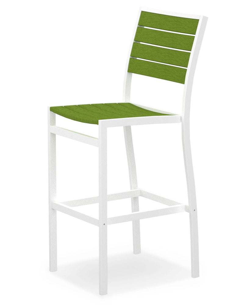 A102-13LI Euro Bar Side Chair in Satin White and Lime