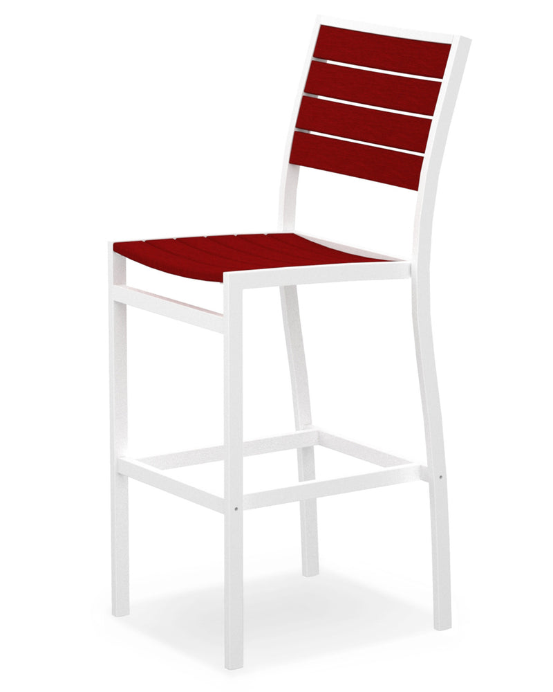 A102-13SR Euro Bar Side Chair in Satin White and Sunset Red