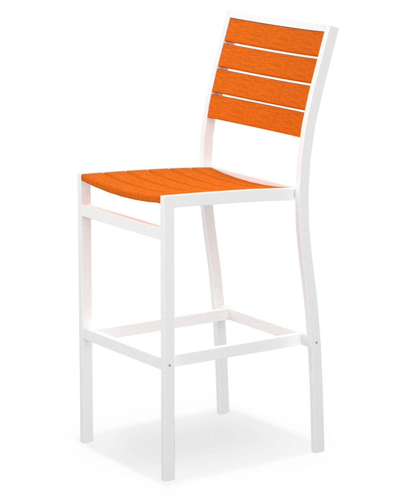 A102-13TA Euro Bar Side Chair in Satin White and Tangerine