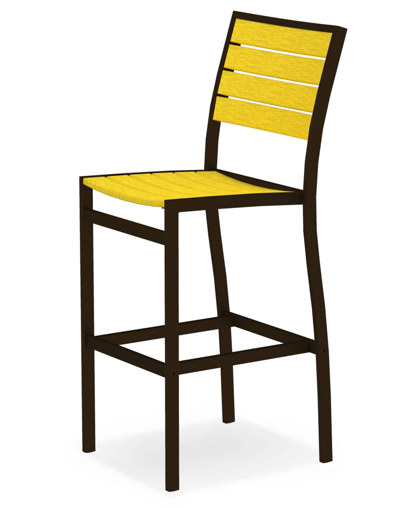 A102-16LE Euro Bar Side Chair in Textured Bronze and Lemon