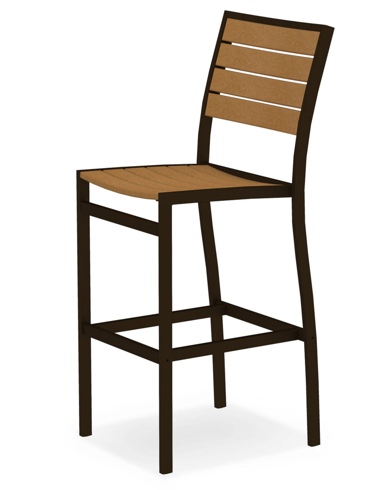 A102-16NT Euro Bar Side Chair in Textured Bronze and Plastique Natural Teak