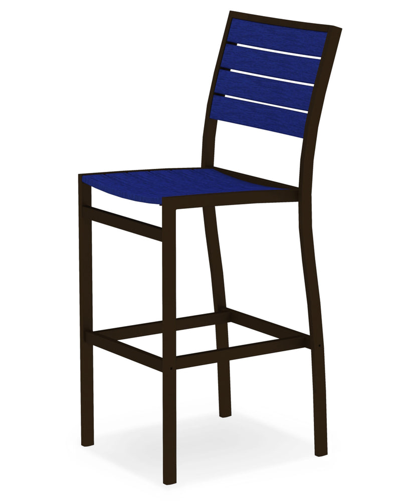 A102-16PB Euro Bar Side Chair in Textured Bronze and Pacific Blue