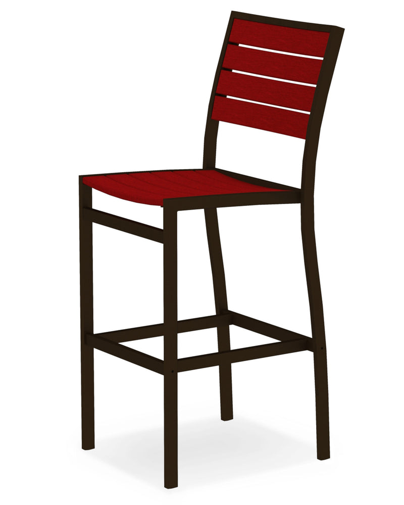 A102-16SR Euro Bar Side Chair in Textured Bronze and Sunset Red
