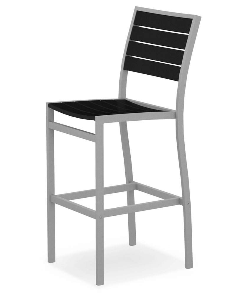 A102FASBL Euro Bar Side Chair in Textured Silver and Black