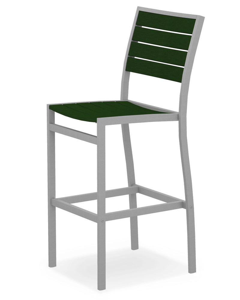 A102FASGR Euro Bar Side Chair in Textured Silver and Green