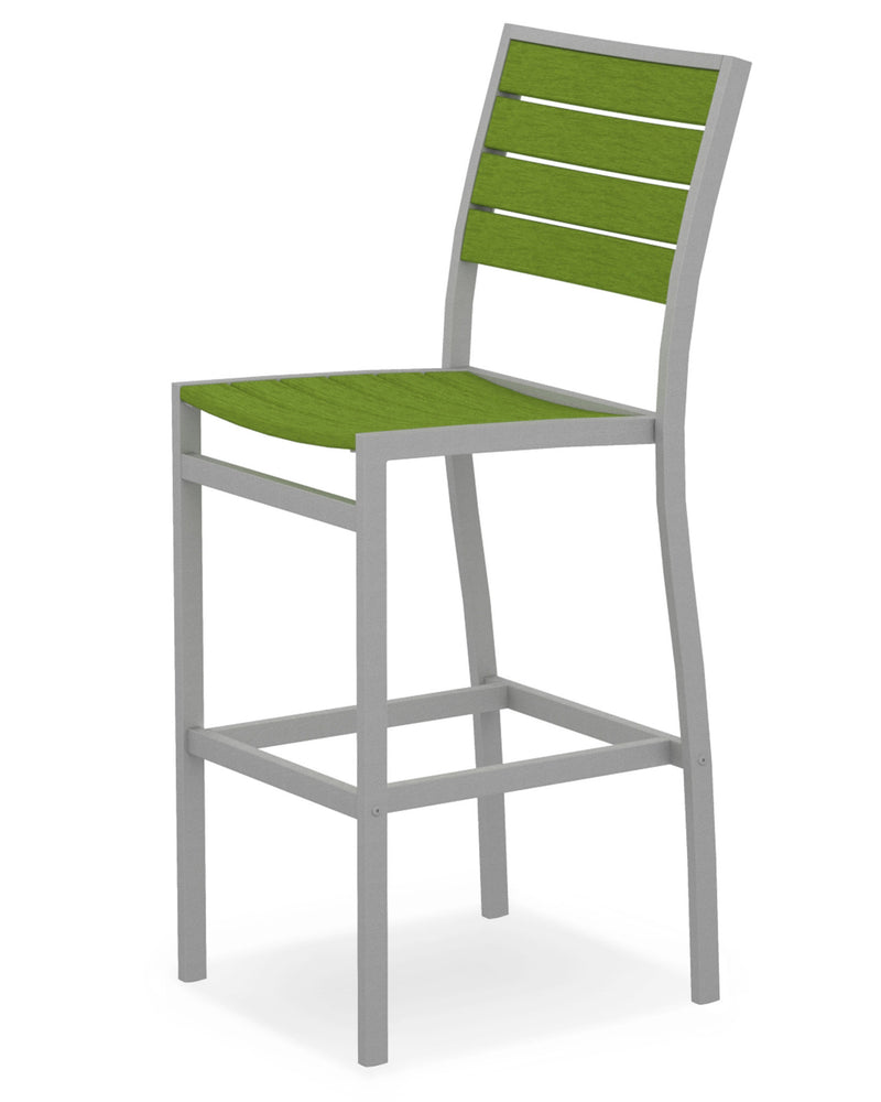 A102FASLI Euro Bar Side Chair in Textured Silver and Lime