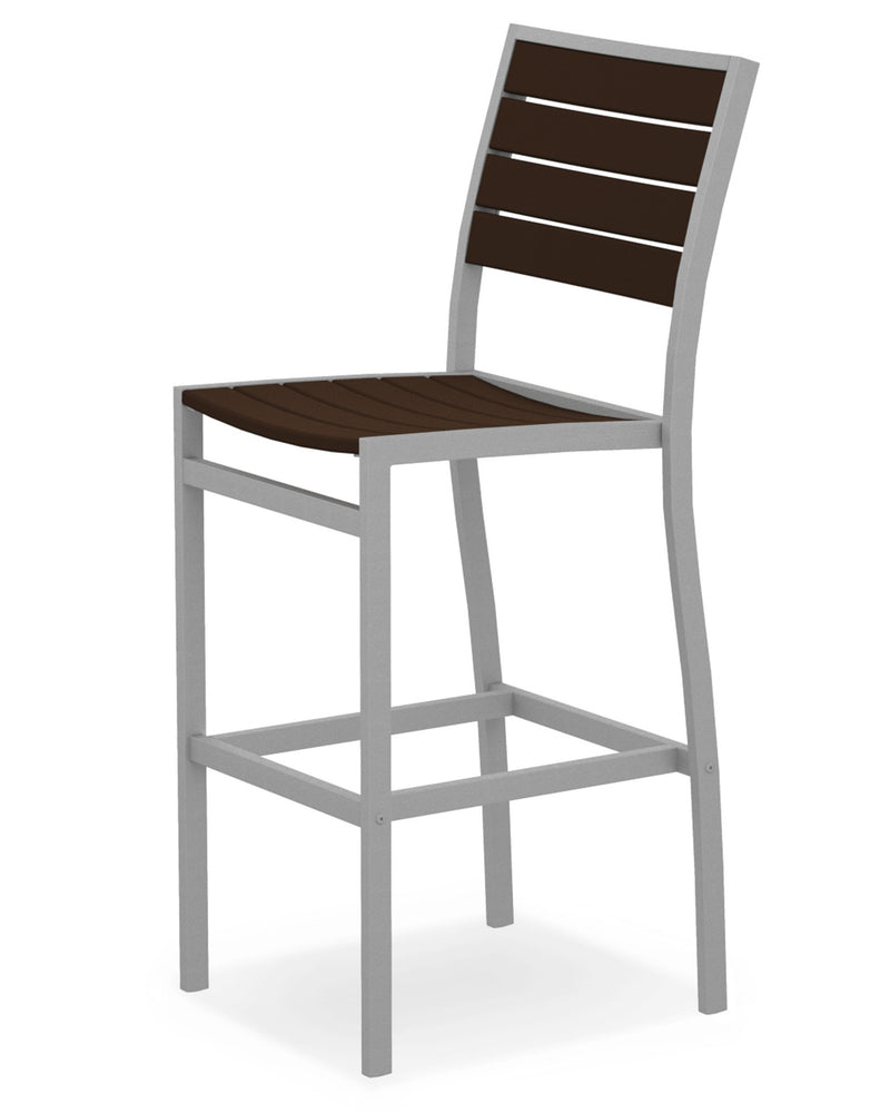 A102FASMA Euro Bar Side Chair in Textured Silver and Mahogany