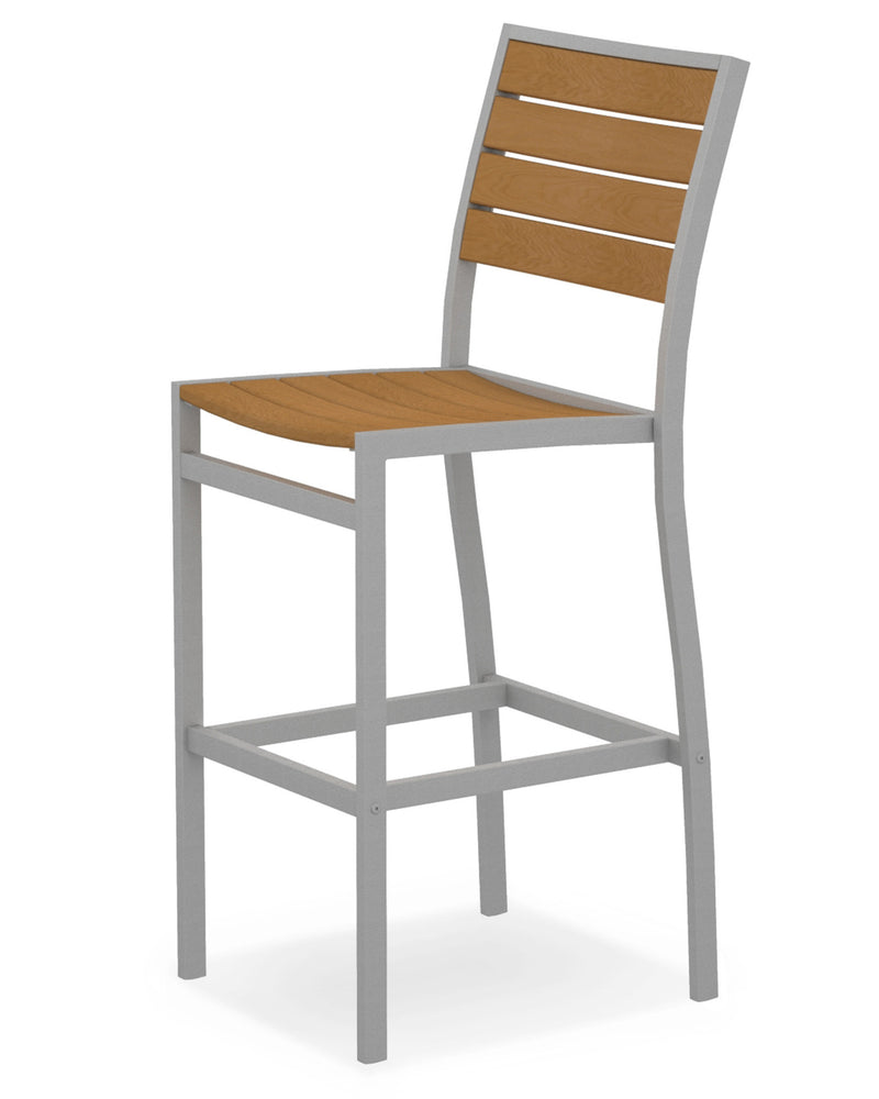 A102FASNT Euro Bar Side Chair in Textured Silver and Plastique Natural Teak