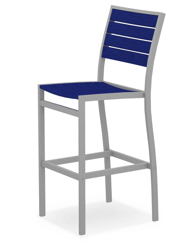 A102FASPB Euro Bar Side Chair in Textured Silver and Pacific Blue