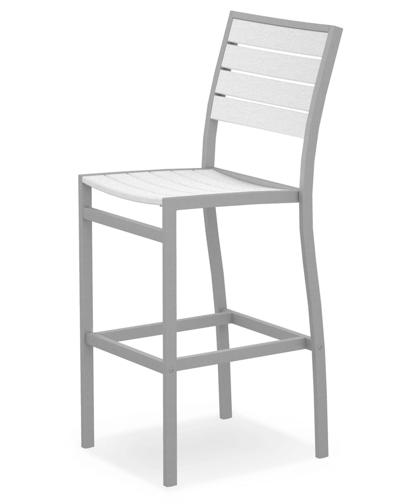 A102FASWH Euro Bar Side Chair in Textured Silver and White
