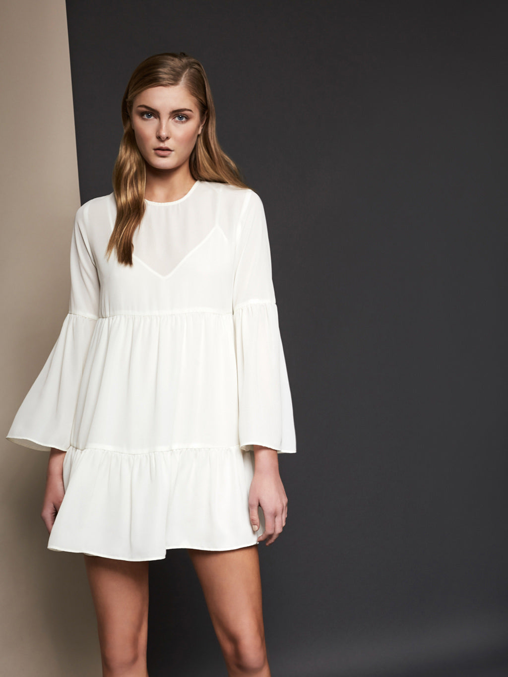 Leigh Ruffle Long Sleeve Mini Dress