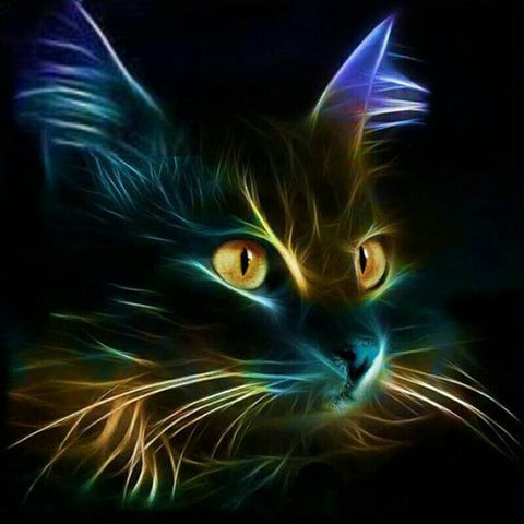 "5D DIY Diamond Painting Full Square Drill ""Light Black Cat"" 3D Embroidery set Cross Stitch Home Wall Art Decor gift Mosaic Craft kit-Hot Sale Products free ship to worldwide"