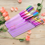 10pcs Makeup Brushes Colorful Hair Blue Purple Transparent Handle Eyeshadow Powder Foundation Brushes Crystal Make up Brushes-Hot Sale Products free ship to worldwide