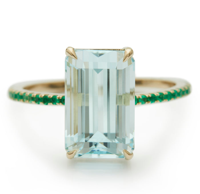 Aquamarine & Emerald Spring Ring