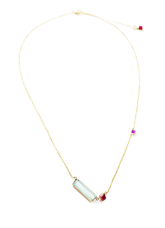 Aquamarine & Ruby Bar Necklace