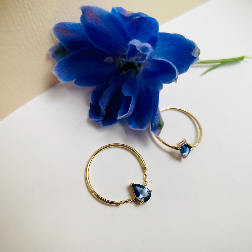 Ruby or blue Sapphire tear drop half chain rings