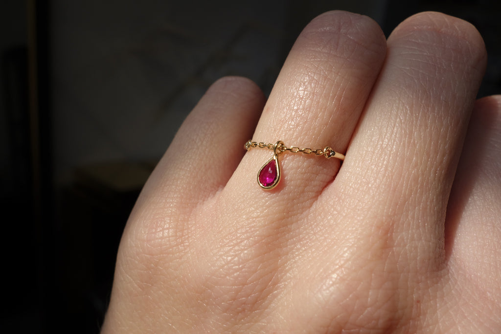 Ruby drop half chain ring