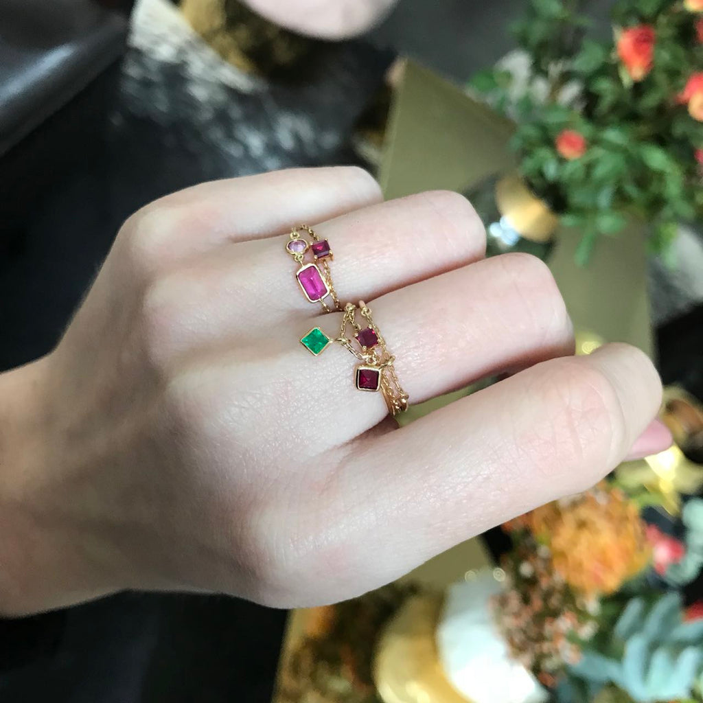 Yi Collection x Opening Ceremony Ruby Ring: Silver with 14k Plating
