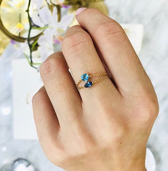 Blue Topaz Heart Ring