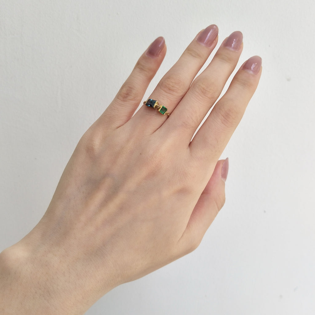 Topaz & Emerald Chain Ring