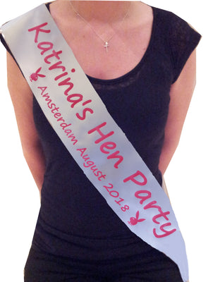 Personalised Playboy Bunny Theme Hen Party Sash