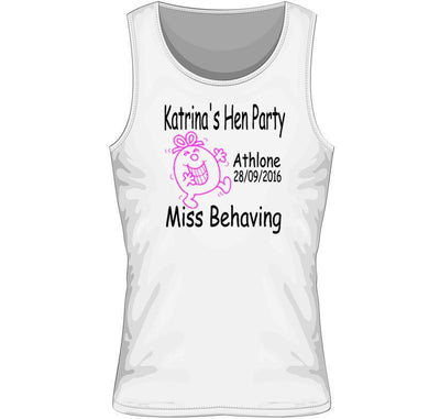 'Miss Behaving' Personalised Hen Party Vest