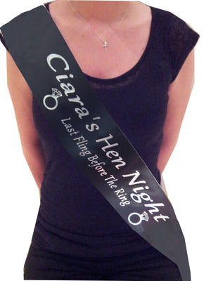 Personalised Hen Party Ring Sash