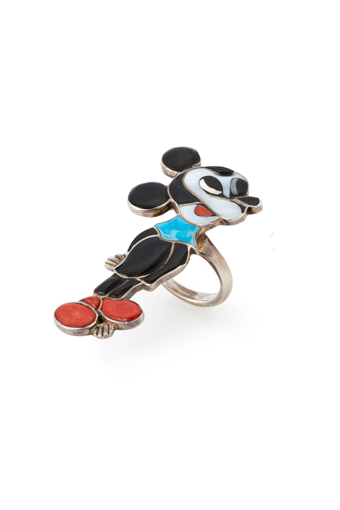 Sterling Silver Multi Stone Mickey Mouse Ring