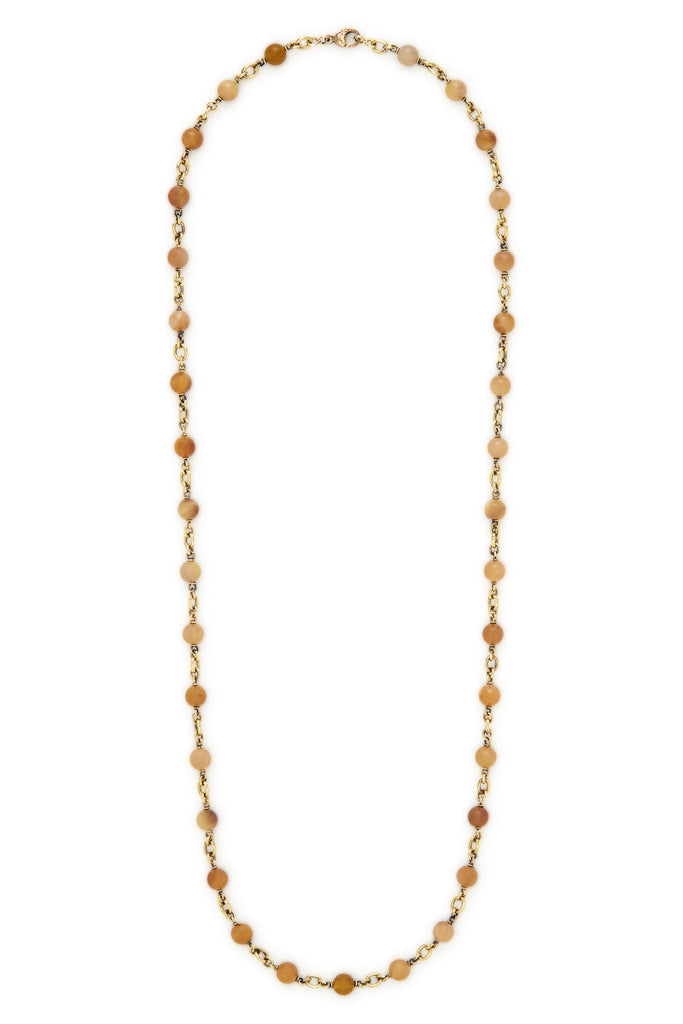 "18K Gold and Zambian Opal Bead 32"" Necklace"