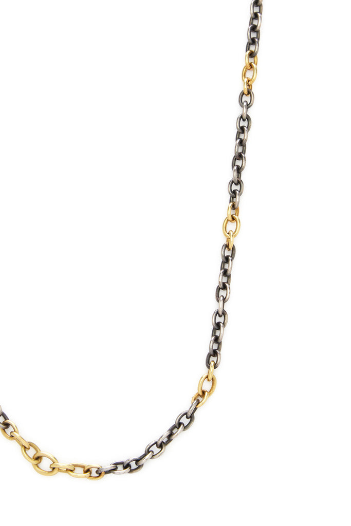 "18K Gold and Sterling Silver Link 32"" Chain Necklace"