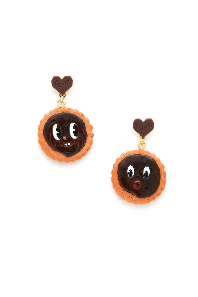 In Love Chocolate Biscuit Earrings