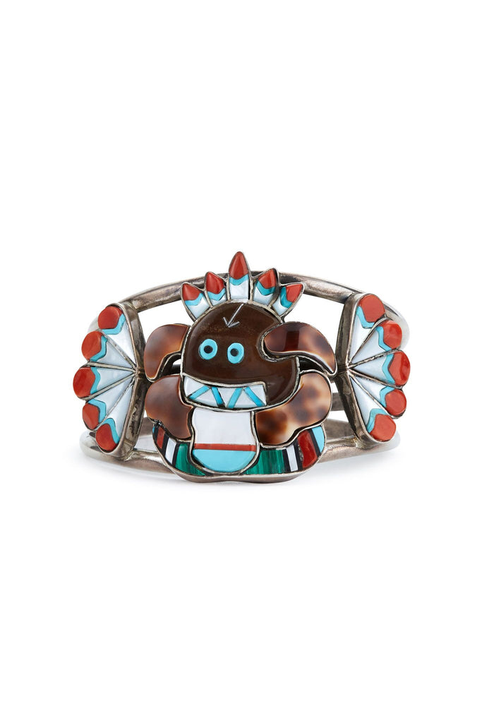 "Gladys Smith ""The Crippled Kachina"" Set Sterling Silver Multi Stone Bracelet, Pendant, and Ring"