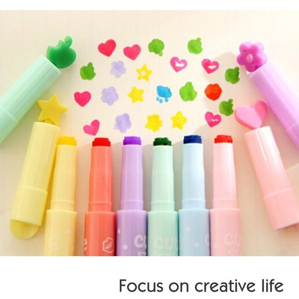 novely stamp highligheter pen color marker pen kawaii stationery canetas escolar office school supplies