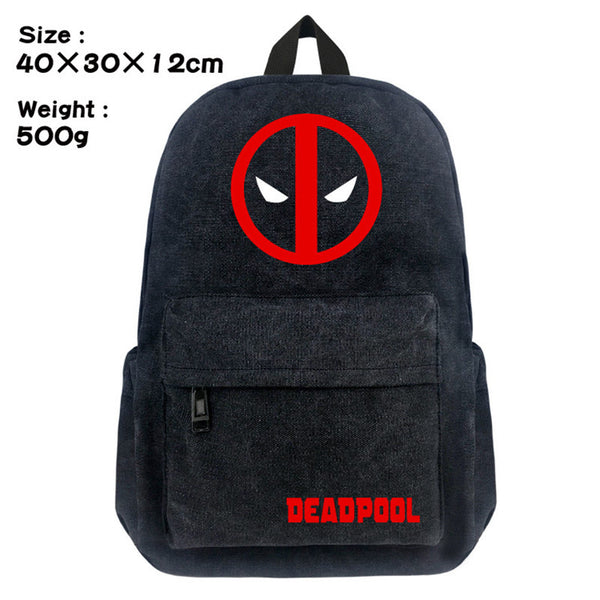 Dead Pool Comic Super Hero Backpack Schoolbag Satchel Canvas Shoulder Laptop Bags For Fans Gift Double Zipper Mochila