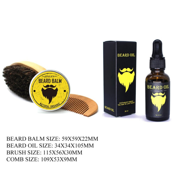 4Pcs Men Beard Care Kit Beard Balm + 30ml Beard Oil + Brush + Comb Grooming Care Tool Male Beard Moisturizing Nourishing Set