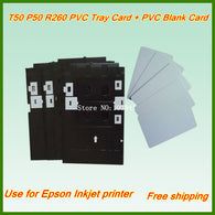 230PCS PVC Blank White Card + 1PC Tray card for Epson T50 T60 P50 R260 R270 R280 R290 Tray Card inkjet printer PVC ID Card tray