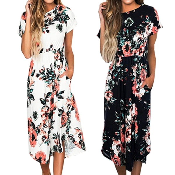 Flower Print Bohemian Floral Dress  Short Sleeve Women Summer Midi Dresses Loose Casual Party Dress Robe XXL Plus Size GV785