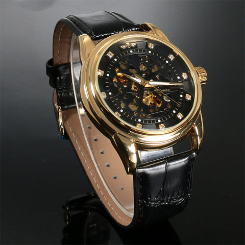 Top Brand Luxury Royal Diamond Design Black Gold Watch Montre Homme Mens Watches Relogio Male Skeleton Mechanical Watch