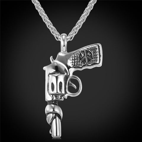 Image of American Style Hip Hop Chain Men Women Pendant Necklace Gold Color Stainless Steel Vintage Roscoe Gun Necklace Jewelry P731