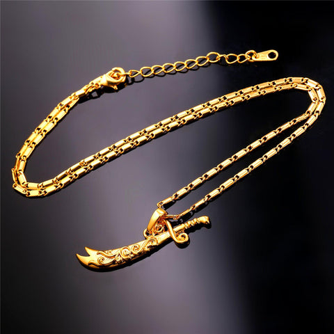 Image of Trendy Ali Sword Pendants For Men's Gift Wholesale Gold Color Choker Chain Necklaces & Pendants Men Jewelry P356