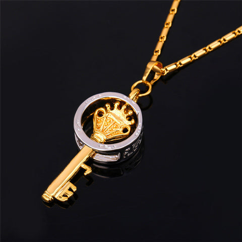 Trendy Key Pendant Necklace Gold Color Fashion Jewelry Party Peace Symbol Pendants Necklaces  P567