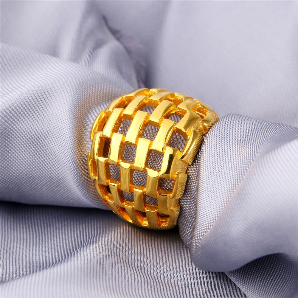 Big Ring Men Jewelry Wholesale Gold Color 21MM Wide Hollow Wedding Party Bands Stainless Steel Rings for Men
