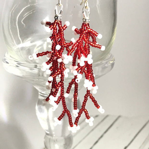 Coral Earrings: Red White